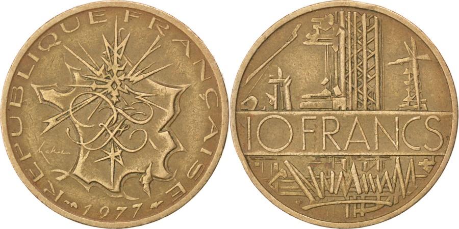 World Coins - FRANCE, Mathieu, 10 Francs, 1977, KM #940, , Nickel-Brass, 26, Gadoury.