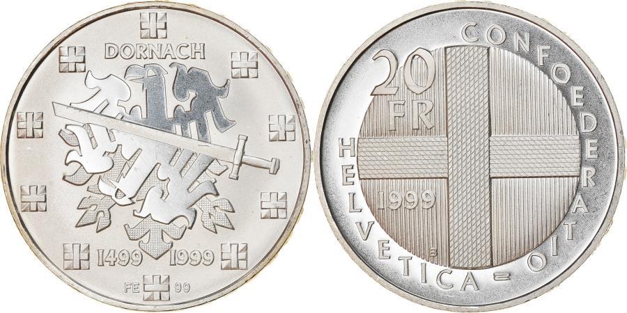 World Coins - Coin, Switzerland, Bataille de Dornach, 20 Francs, 1999, Proof, , Silver