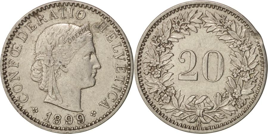 World Coins - Switzerland, 20 Rappen, 1899, Bern, , Nickel, KM:29