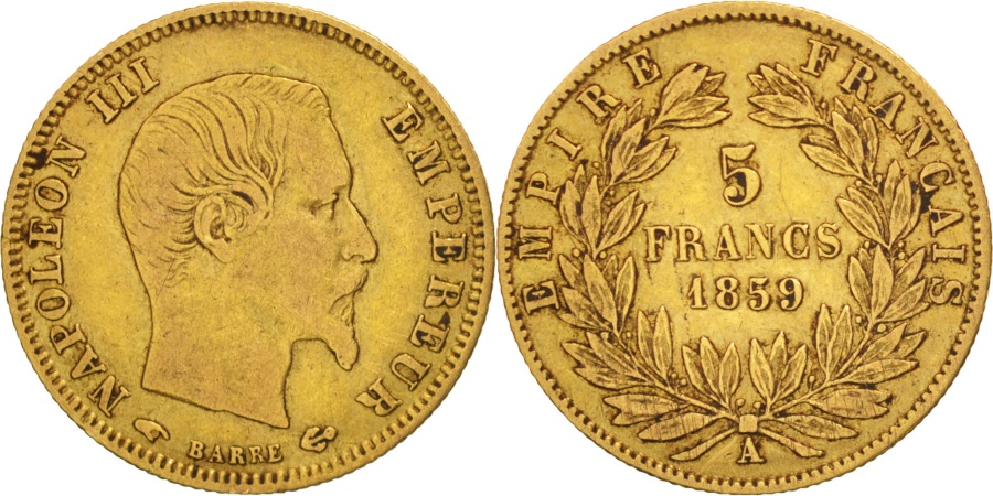 World Coins - France, Napoléon III, 5 Francs, 1859, Paris, , Gold, KM:787.1