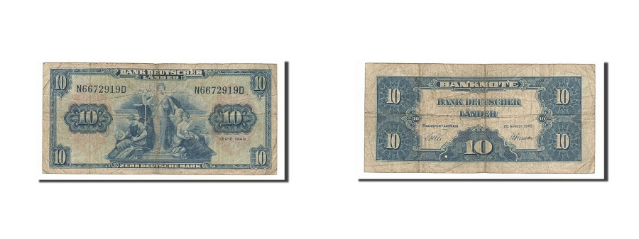 World Coins - Germany - Federal Republic, 10 Deutsche Mark, 1949, KM #16a, 1949-08-22,...