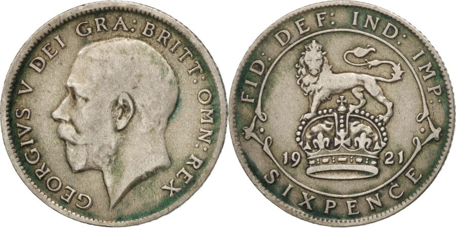 World Coins - Great Britain, George V, 6 Pence, 1921, , Silver, KM:815a.1