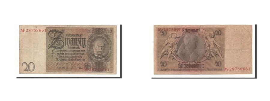 World Coins - Germany, 20 Reichsmark, 1929, KM:181a, 1929-01-22, VF(20-25)