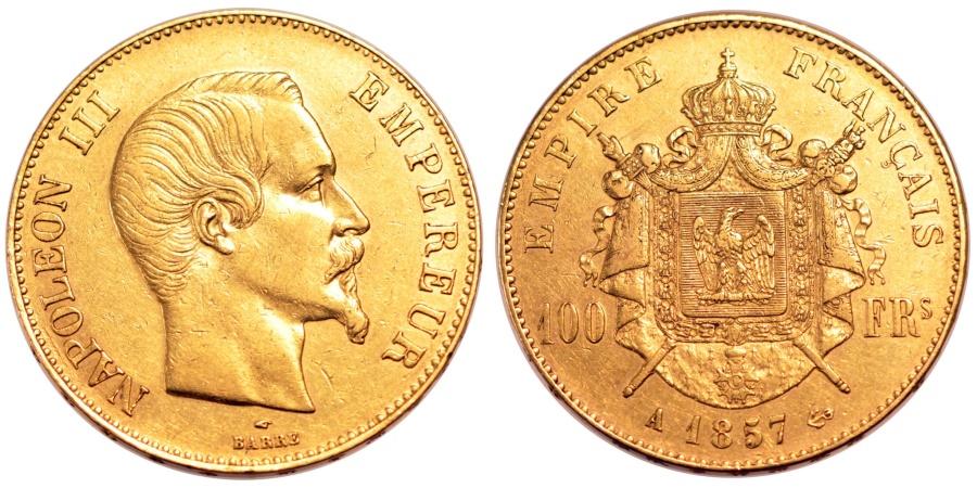 World Coins - FRANCE, Napoléon III, 100 Francs, 1857, Paris, KM #786.1, , Gold, G...