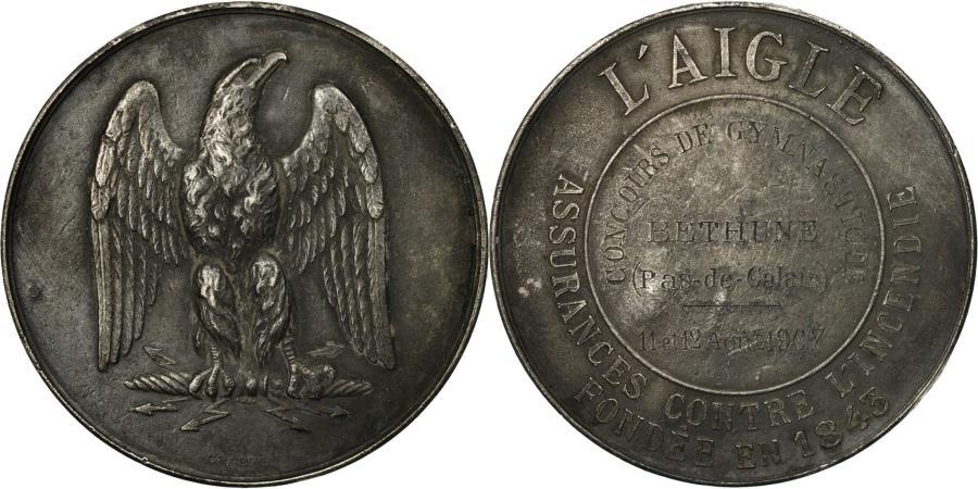 World Coins - France, Medal, L'Aigle, Assurances contre l'Incendie, Gymnastique, Béthune