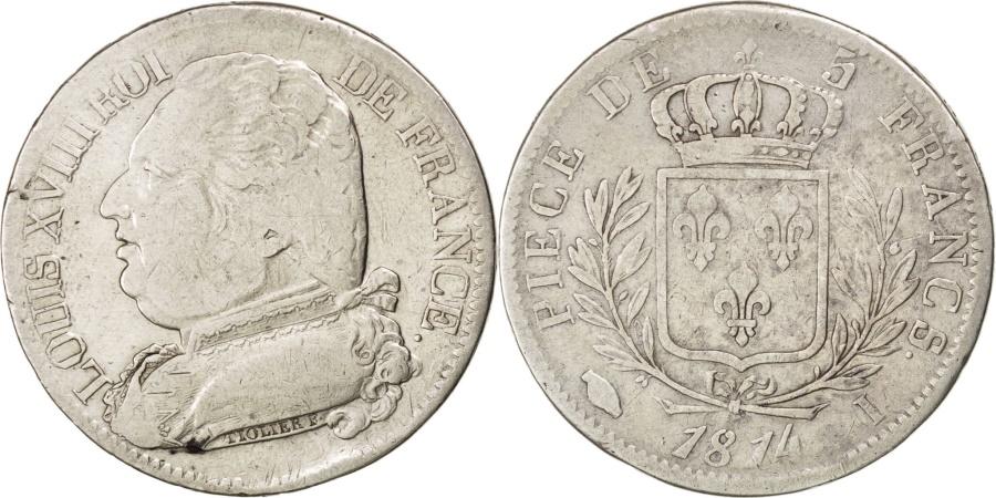 World Coins - FRANCE, Louis XVIII, 5 Francs, 1814, Limoges, KM #702.6, , Silver,...