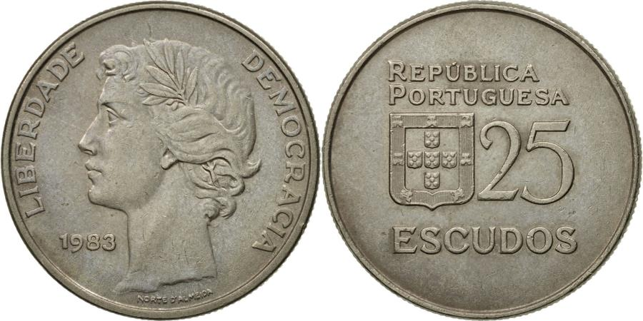 World Coins - Coin, Portugal, 25 Escudos, 1983, , Copper-nickel, KM:607a