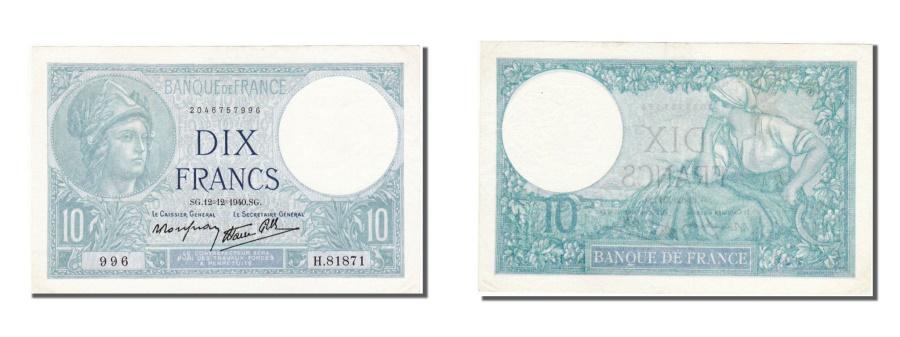 World Coins - France, 10 Francs, 10 F 1916-1942 ''Minerve'', 1940, KM #84, 1940-12-12,...