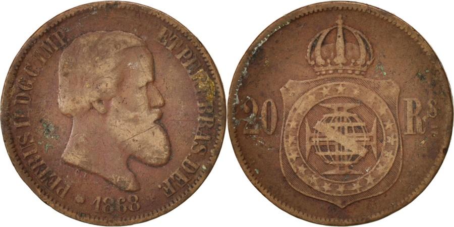 World Coins - Brazil, Pedro II, 20 Reis, 1868, , Bronze, KM:474