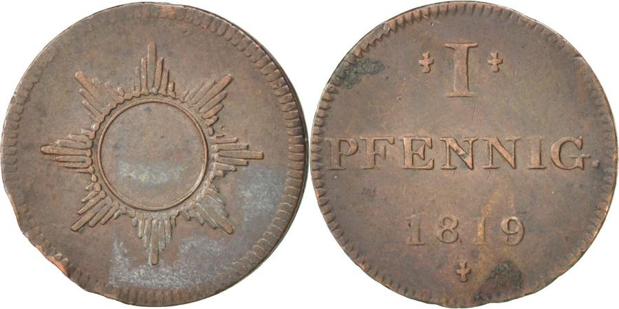 World Coins - GERMAN STATES, Pfennig, 1819, Frankfurt, KM #Tn7, , Copper, 1.37
