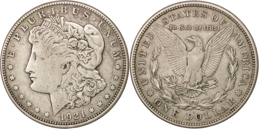 US Coins - United States, Morgan Dollar, 1921, San Francisco, VF, KM:110