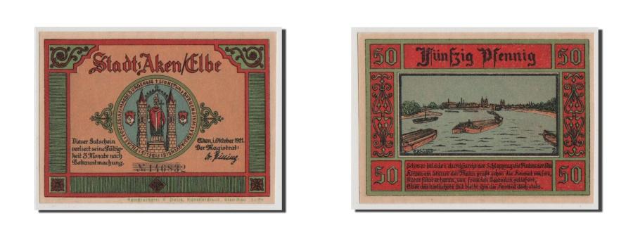 World Coins - Germany, Aken, 50 Pfennig, 1921, 1921-10-01, UNC(65-70), 146832, Mehl #8.1