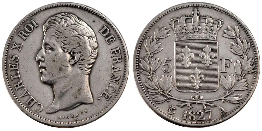 World Coins - FRANCE, Charles X, 5 Francs, 1827, Paris, KM #728.1, , Silver, Gadoury.