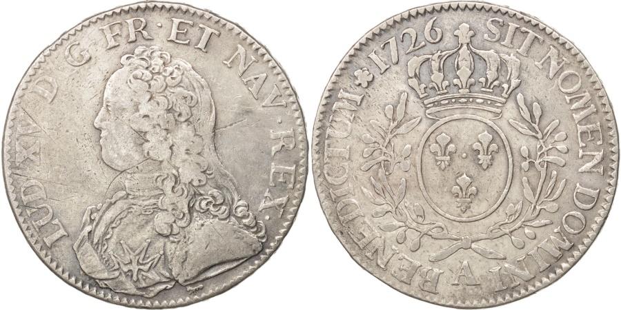 World Coins - France, Louis XV, Écu aux branches d'olivier, Ecu, 1726, Paris,