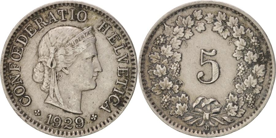 World Coins - Switzerland, 5 Rappen, 1929, Bern, , Copper-nickel, KM:26