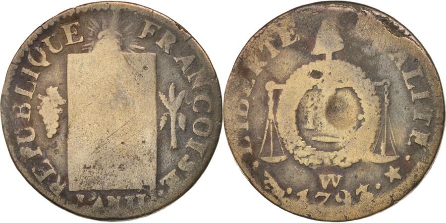 World Coins - France, Sol aux balances françoise, 1793, Lille, , Bronze, KM:619.12