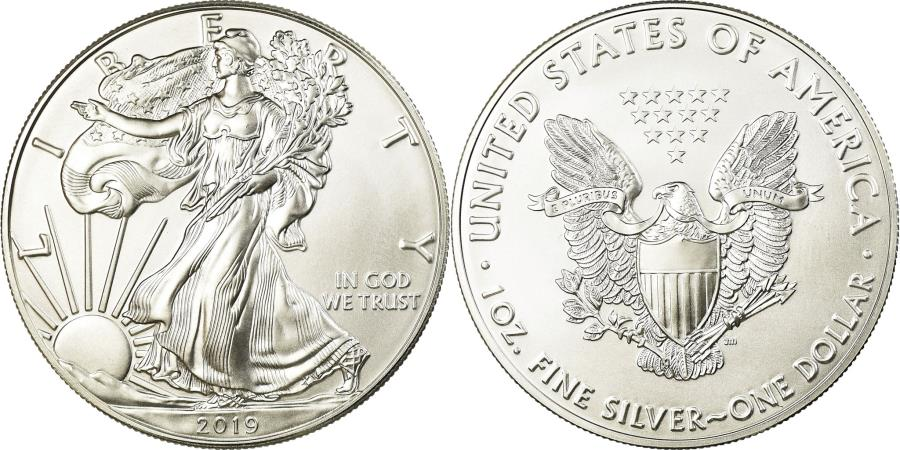 US Coins - Coin, United States, Liberty Walking, Dollar, 2019, U.S. Mint, , Silver