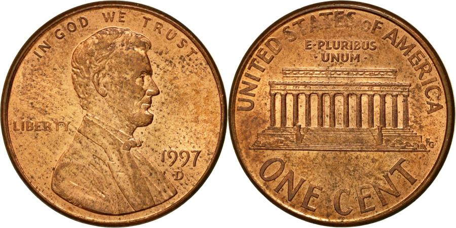 US Coins - Coin, United States, Lincoln Cent, Cent, 1997, U.S. Mint, Denver,