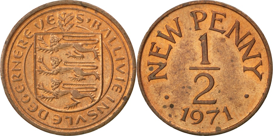 World Coins - GUERNSEY, 1/2 New Penny, 1971, KM #20, , Bronze, 17.14, 1.78