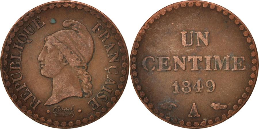 World Coins - France, Dupré, Centime, 1849, Paris, , Bronze, KM:754, Gadoury:84
