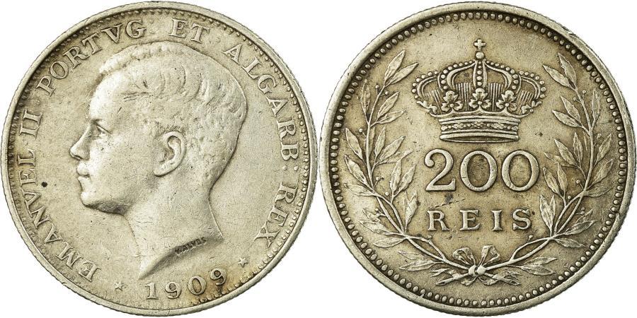World Coins - Coin, Portugal, Manuel II, 200 Reis, 1909, Paris, , Silver, KM:549
