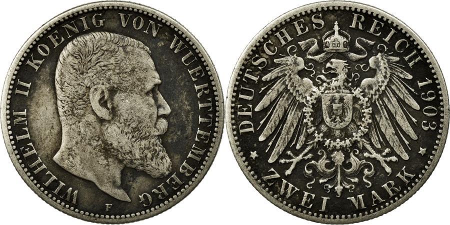 World Coins - Coin, German States, WURTTEMBERG, Wilhelm II, 2 Mark, 1903, Freudenstadt