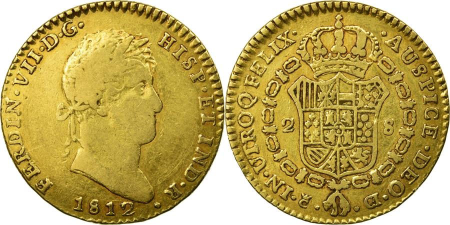 World Coins - Coin, Spain, Ferdinand VII, 2 Escudos, 1812, Cadiz, , Gold, KM:468