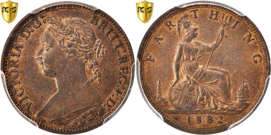 World Coins - Coin, Great Britain, Victoria, Farthing, 1882, Heaton, PCGS, MS63RB,