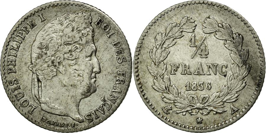 World Coins - Coin, France, Louis-Philippe, 1/4 Franc, 1836, Paris, AU(50-53), Silver