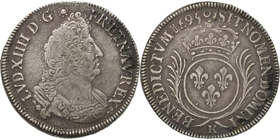 World Coins - FRANCE, 1/2 Écu aux palmes, 1/2 ECU, 1695, Bordeaux, KM #295.11, , ...