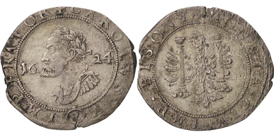 World Coins - France, 1/4 Teston, Charles Quint, Franche-Comté, 1624, Besançon