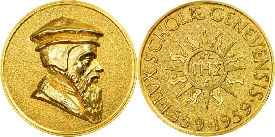 World Coins - Switzerland, Medal, Calvin, 400 ans de l'Université de Genève, 1959, Gold