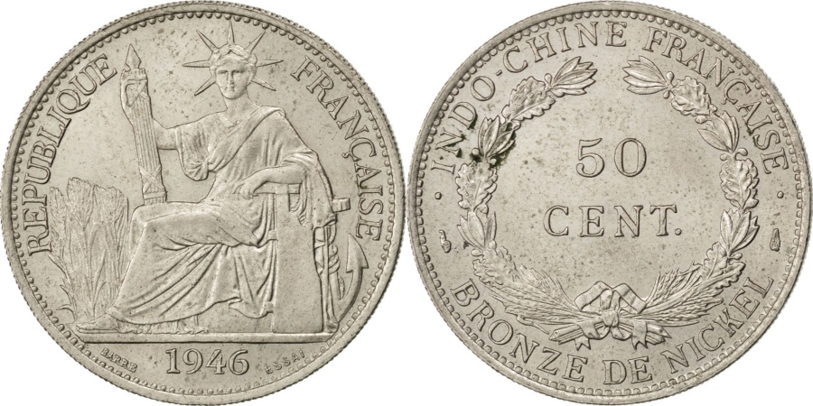 World Coins - FRENCH INDO-CHINA, 50 Cents, 1946, Paris, KM #E41, , Copper-Nickel,...