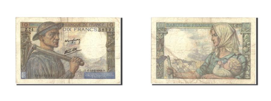World Coins - France, 10 Francs, 10 F 1941-1949 ''Mineur'', 1944, KM:99e, 1944-01-13