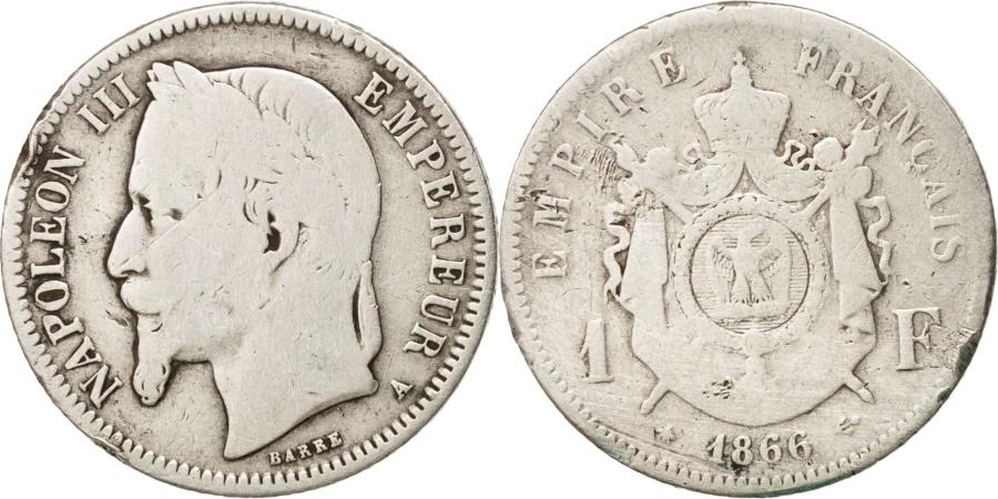 World Coins - France, Napoleon III, Napoléon III, Franc, 1866, Paris, , Silver