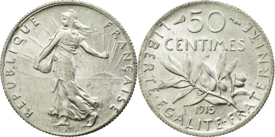 World Coins - Coin, France, Semeuse, 50 Centimes, 1915, Paris, MS(60-62), Silver, KM:854