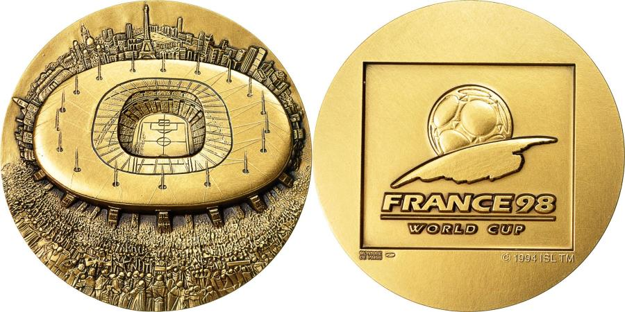 World Coins - France, Medal, France 98, Coupe du Monde de Football, MDP, MS(65-70), Bronze