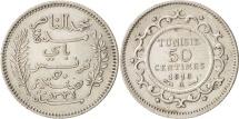 World Coins - Tunisia, Muhammad al-Nasir Bey, 50 Centimes, 1916, Paris, AU(50-53), Silver
