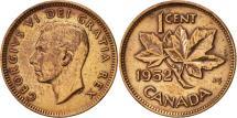 World Coins - Canada, Elizabeth II, Cent, 1952, Royal Canadian Mint, Ottawa, AU(50-53)