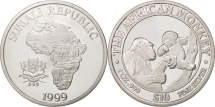 World Coins - Somali Republic, 10 Dollars, 1 Oz, 1999, The African Monkey, MS(65-70), Silver
