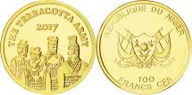 World Coins - Coin, Niger, The Terracotta Army, 100 Francs, 2017, MS(65-70), Gold