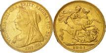 World Coins - Australia, Victoria, Sovereign, 1901, Sydney, AU(50-53), Gold, KM:13