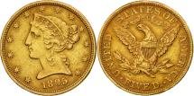 Us Coins - United States, Coronet Head, $5, 1895, Philadelphia, EF(40-45), Gold, KM:101