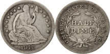 Us Coins - United States, Seated Liberty Half Dime, 1840, New Orleans, VF, KM:62.1