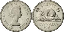World Coins - Canada, Elizabeth II, 5 Cents, 1964, Royal Canadian Mint, Ottawa, AU(55-58)