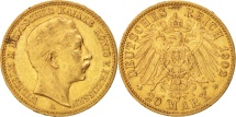 German States, PRUSSIA, Wilhelm II, 20 Mark, 1902, Berlin, EF(40-45), Gold