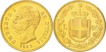 Italy, Umberto I, 20 Lire, 1882, Rome, MS(60-62), Gold, KM:21