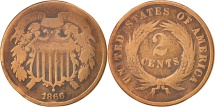 Us Coins - United States, 2 Cents, 1866, U.S. Mint, Philadelphia, VG(8-10)