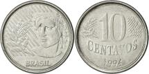 World Coins - Brazil, 10 Centavos, 1994, AU(50-53), Stainless Steel, KM:633