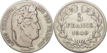 France, Louis-Philippe, 5 Francs, 1840, Paris, VF(20-25), Silver, KM:749.1
